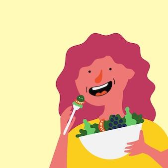 Girl eats fresh salad healthy food