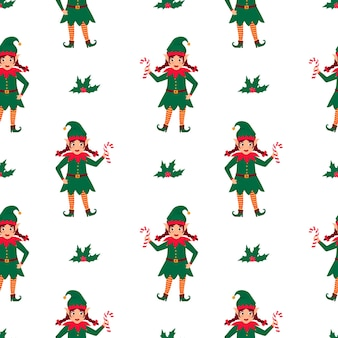 Girl elf with pigtails holds a lollipop in her hand. christmas and new year's seamless pattern.