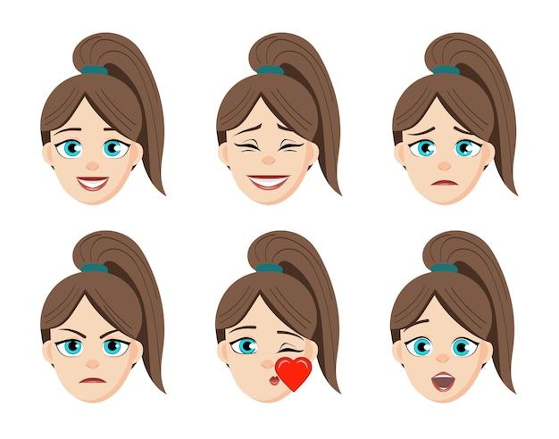 Девушка эмоции сталкивается с карикатурой. женщина смайликов сталкивается с милыми символами.