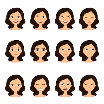 Girl emotion faces cartoon vector illustration