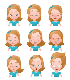 Girl emotions vector set