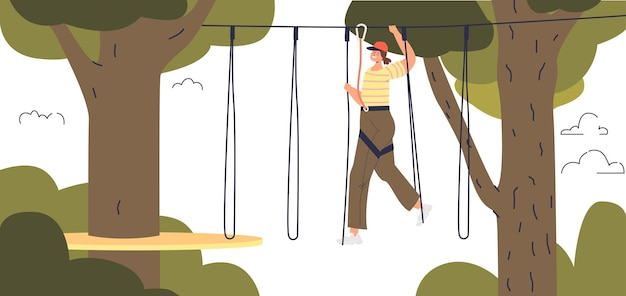 Girl enjoy activity in adventure rope park. young cartoon female have fun in extreme park outdoors climbing between trees. flat vector illustration