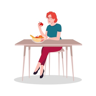 新鮮な果物を楽しんでいる女の子セミフラットrgbカラーベクトルイラスト。健康的な栄養、自然な食物消費。白い背景の上の新鮮なリンゴ孤立した漫画のキャラクターを食べる若い白人女性