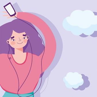 Girl enjoying and listening music with headphones  illustration