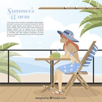 Девочка, наслаждаясь лета