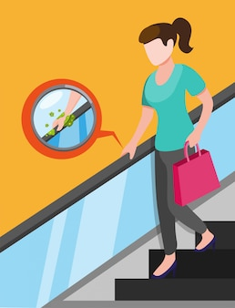 Girl in escalator with bacteria virus in handle, virus transmission in public area in cartoon illustration