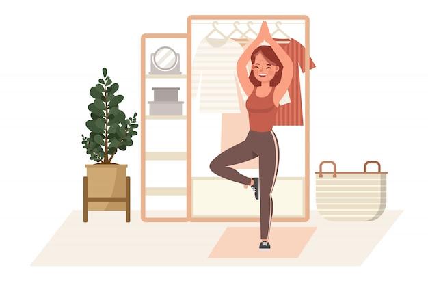집에서 여자 운동 문자. 요가 및 피트니스, 건강한 라이프 스타일 개념.