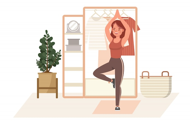 Girl exercise at home character  . yoga and fitness, healthy lifestyle concept.