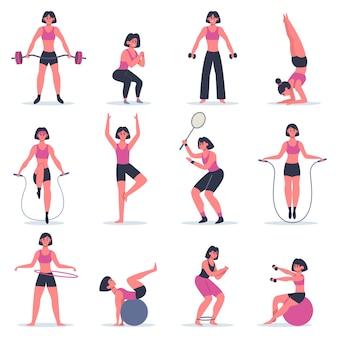 운동하는 소녀. 젊은 여성 피트니스 운동, 스쿼트, 연습 요가와 테니스, 스포츠 체육관에서 소녀 또는 집에서 훈련 그림 세트. 운동 피트니스 젊은이 소녀 컬렉션