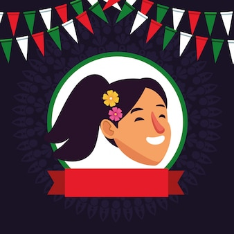 Girl face avatar cartoon character
