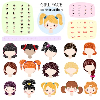 Girl face constructor vector kids character avatar and girlish creation head lips or eyes illustration