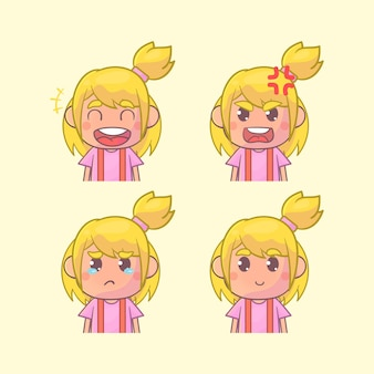 Girl face expression set