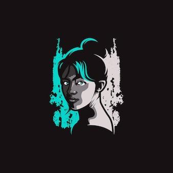 女の子の顔のマスコットのロゴ