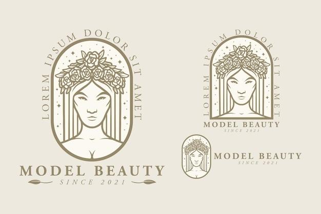 彼女の頭に花を持つ少女の顔モデルの美しさロゴイラストデザイン