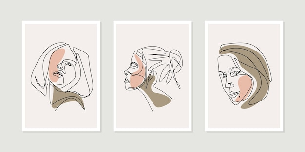 Girl face one line art drawing with beauty woman poster set