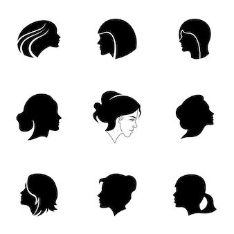 女の子の顔のベクトルを設定します。シンプルな女の子の顔の形のイラスト、編集可能な要素、ロゴデザインで使用することができます