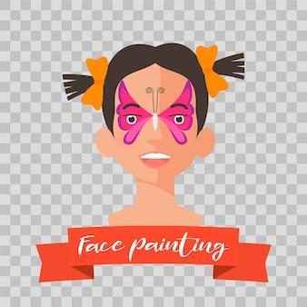 Лицо девушки с бабочкой нарисовано для детской вечеринки