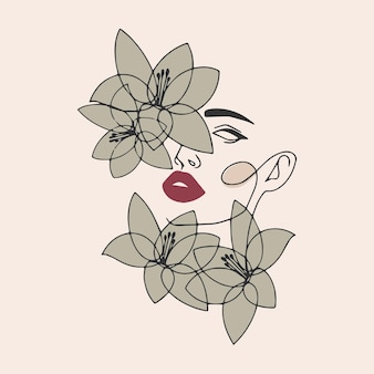 Girl face with flowers. line art illustration