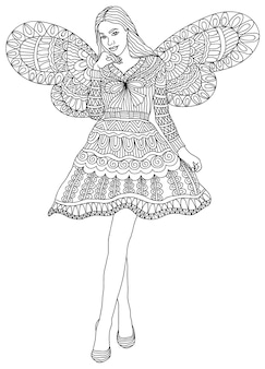 Girl fairy  for colouring book page for adults and children