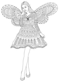 Девочка-фея для раскраски для взрослых и детей