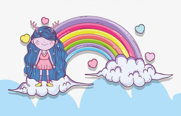 Девушка сказочное существо в облаках с радугой