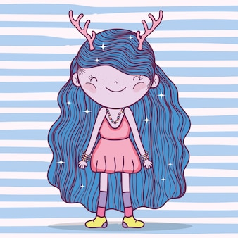 Girl fantastic creature with antlers and dress