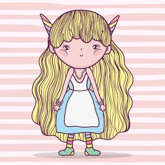 Девушка сказочное существо с рогами и платьем