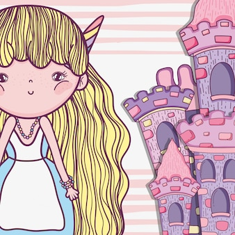 Girl fantastic creature with horns and castle