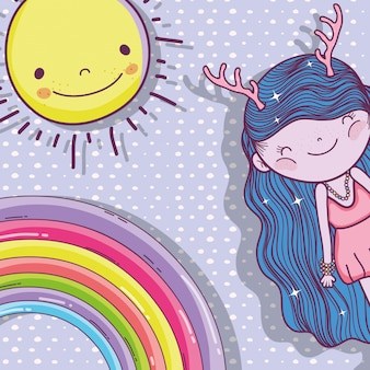 Girl fantastic creature with sun and rainbow