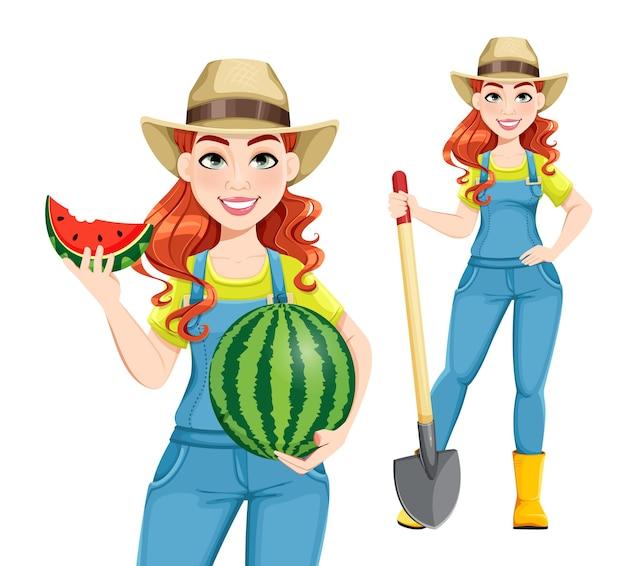 소녀 농부 만화 캐릭터