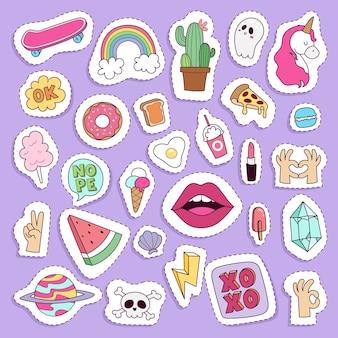 소녀 패션 기호 스티커 패치 귀여운 다채로운 배지 재미 만화 아이콘 조랑말 경적 말 입술