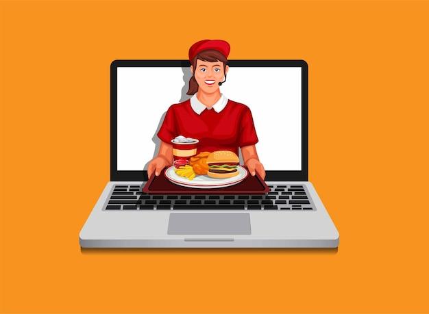 Girl fast food worker giving food from laptop online order delivery illustration