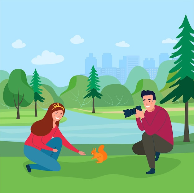 Girl feeding a squirrel in the forest.  man photographing a girl. vector illustration