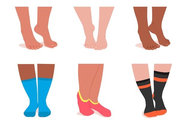 Ноги девушки в набор мультфильмов носки, изолированные на белом фоне.