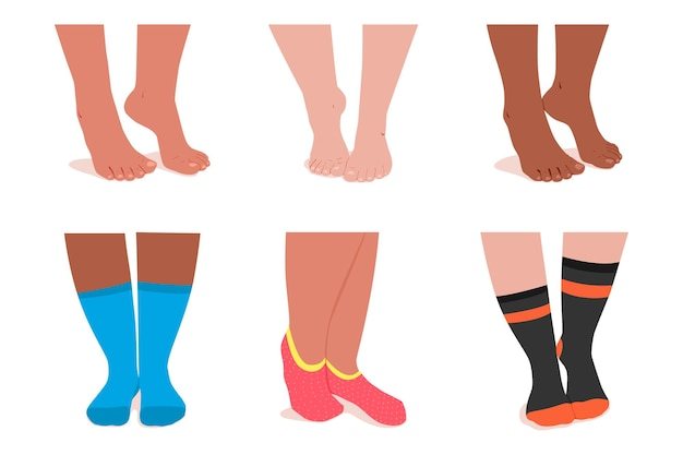 Girl feet in socks  cartoon set isolated on a white background.