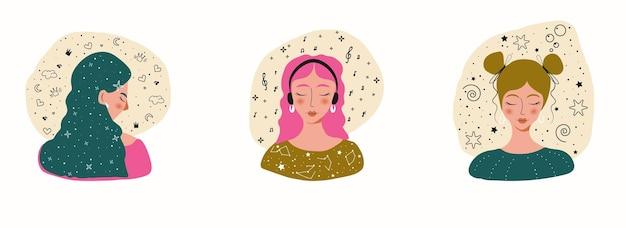 Девушка женский набор векторных фона. красота печати. женщина линейный плакат. современный шаблон.