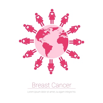 Girl figures world map breast cancer awareness concept vector illustration
