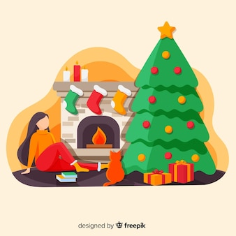 Girl at the fireplace christmas illustration