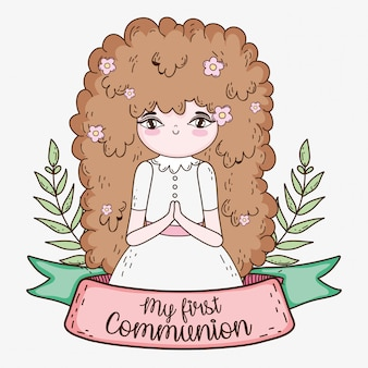 Girl first communion with branches leaves and ribbon
