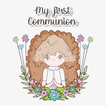 Girl first communion with flowers plants