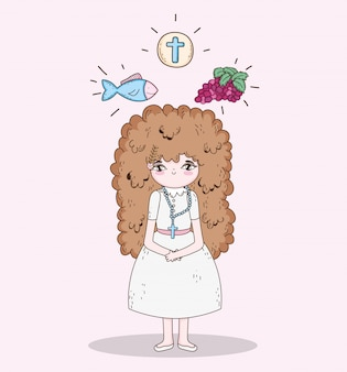 Girl first communion with wafer host and fish with grapes