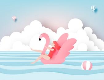 美しい海の背景紙とフラミンゴとビーチに浮かぶ少女カットスタイルのベクトル図