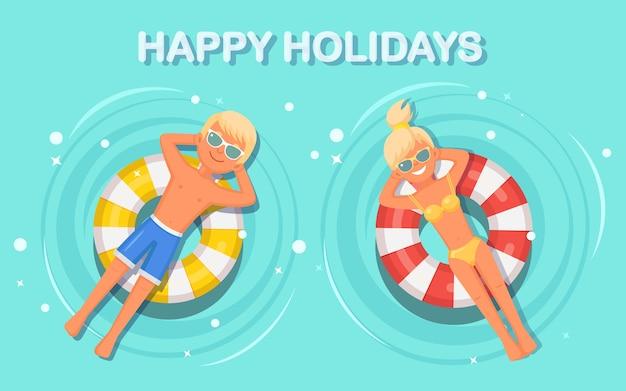 Девушка плавает на игрушечной иллюстрации