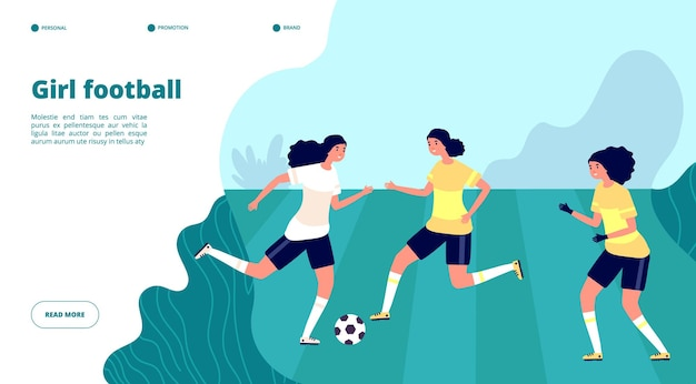 Girl football banner. women professional playing soccer in uniforms.