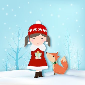 Girl and fox with snow illustration