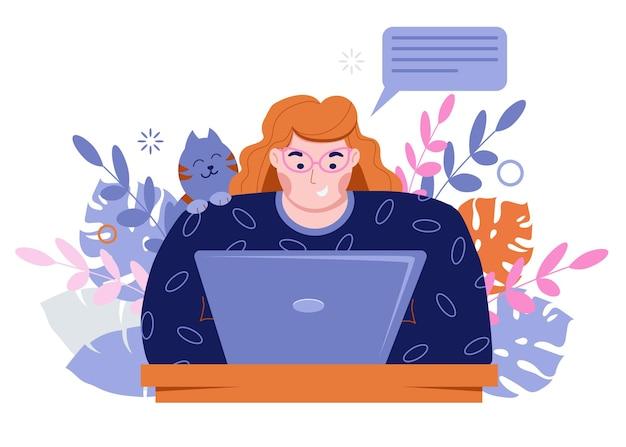 소녀 프리랜서는 노트북에서 일합니다. 친구 및 동료와 채팅.