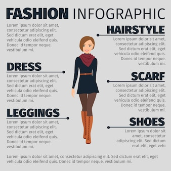 Girl in french style fashion infographic template