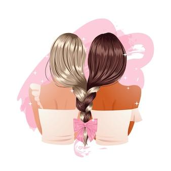 リボンで飾られたガールフレンドの三つ編みのスタイリッシュな髪型。友情の概念のクリップアート。図