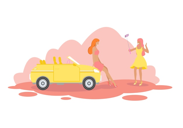 Girl friends stand at modern yellow cabriolet car