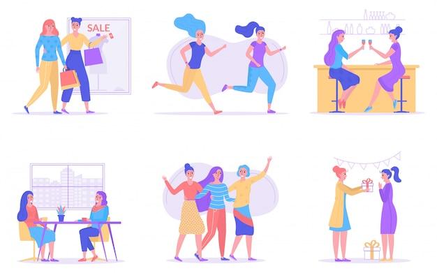 Girl friendship, women friends together illustration.